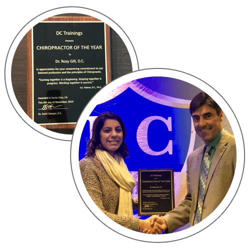Chiropractor Lathrop CA Dr Rosy Gill Chiropractor of the Year Award 2019